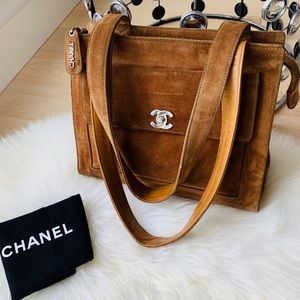 CHANEL 💎 Vintage CC Turnlock Suede Shoulder Bag